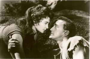 Jean Simmons y Kirk Douglas